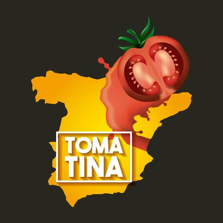 La tomatina black background spain map tomato festival vector illustration Ilustrace