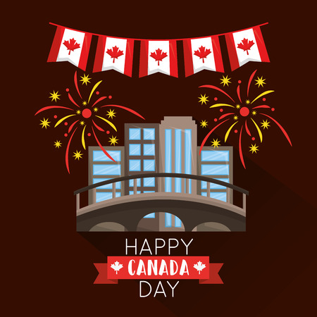 Happy canada day montreal fireworks pennants flags vector illustration Illustration