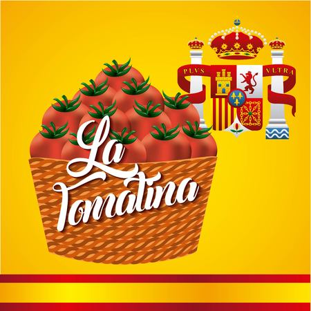 La tomatina basket red tomatoes flag crowns spain vector illustration