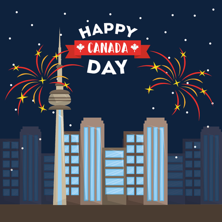 Toronto city fireworks - happy canada day vector illustration