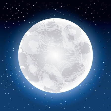 full moon party summer moon shine starts blue sky vector illustration vector illustration Ilustração