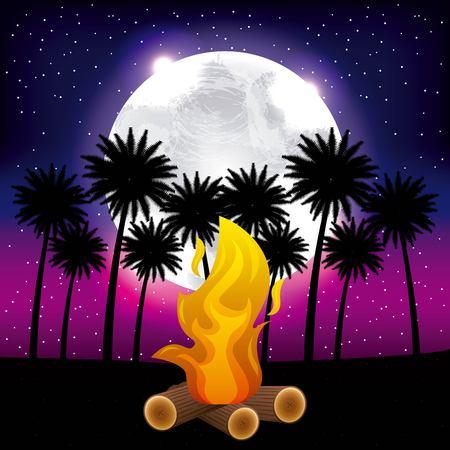 full moon party summer beach night palms moonlight fire celebration vector illustration