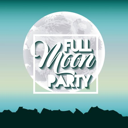 full moon party summer skyline blue scene vector illustration vector illustration