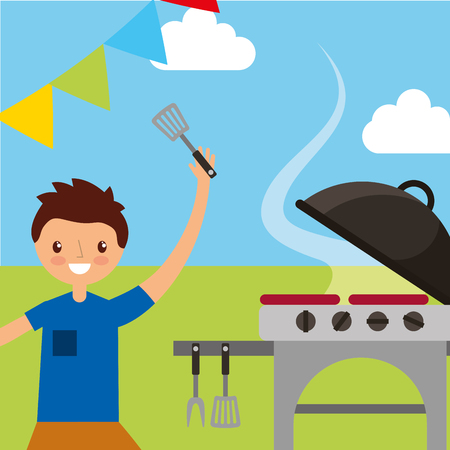 happy young man holding spatula cooking in grill picnic vector illustration