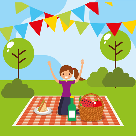happy woman having picnic in the park with basket and wine bottle sandwich vector illustration