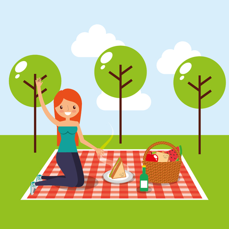 happy woman having picnic in the park with sandwich basket fruits and wine bottle vector illustration