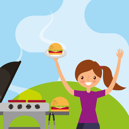 young girl holding burger picnic grill vector illustration