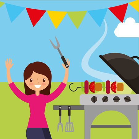 young woman holding kebab in picnic scene vector illustration