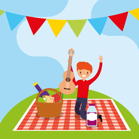 cute young man having picnic holding guitar in tablecloth vector illustration Illustration