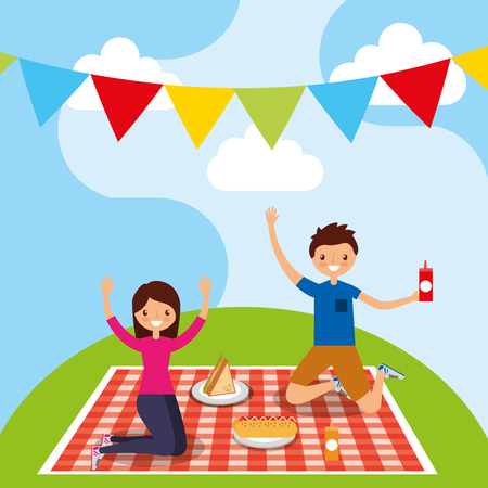 happy couple in picnic tablecloth with sandwich hotdog vector illustration