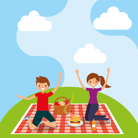 happy couple in picnic tablecloth with basket burger in hill vector illustration Stock Illustratie