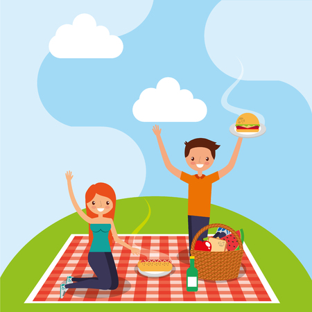 happy couple in picnic tablecloth with basket food wine burger and hotdog vector illustration
