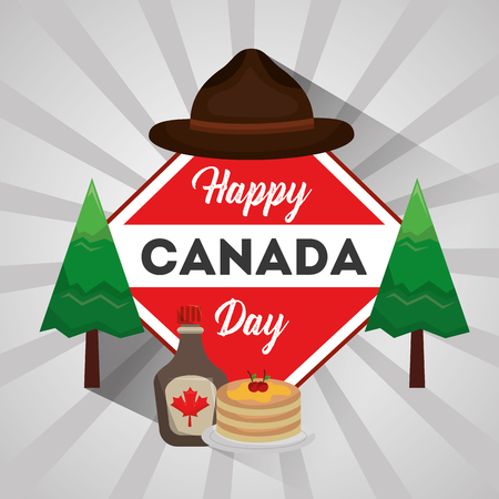 happy canada day badge with hat pine pancake and syrup maple vector illustration Illustration
