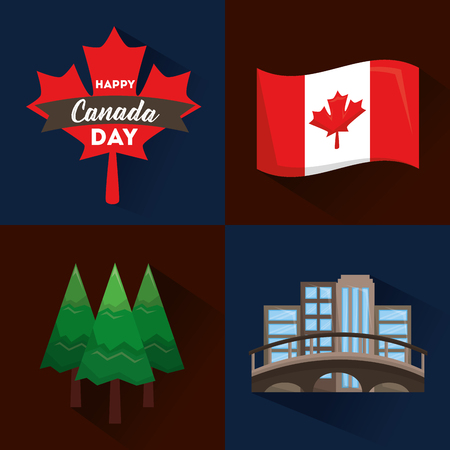 happy canada day flag forest pine montreal and maple leaf vector illustration