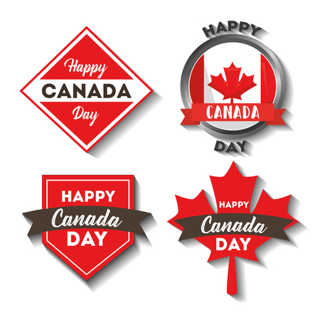 happy canada day labels flag maple leaf button elements vector illustration