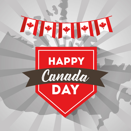 happy canada day label on country map vector illustration