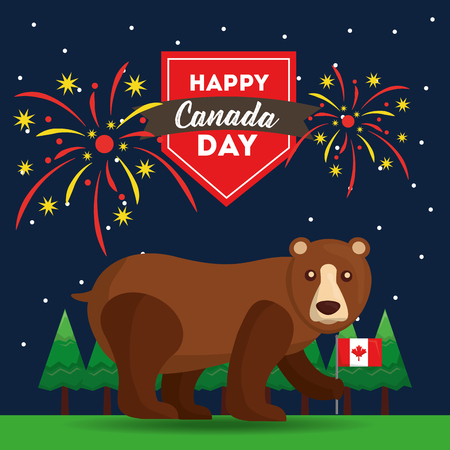 happy canada day grizzly bear in the forest with flag and fireworks vector illustration Illustration