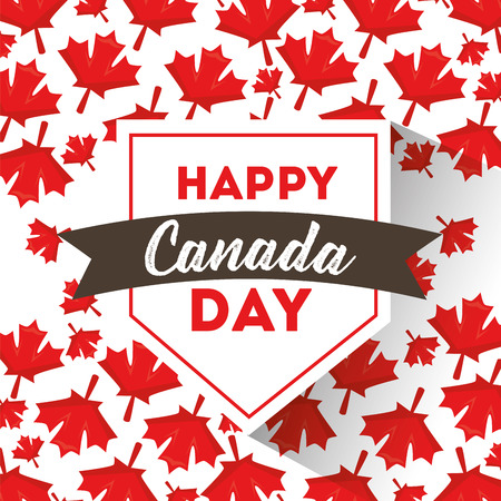 happy canada day maple leaf label symbol vector illustration