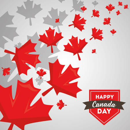 happy canada day greeting card maple leaves and label vector illustration