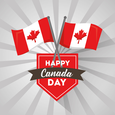 happy canada day label flags crossed national celebration vector illustration