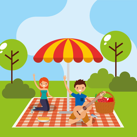happy couple in picnic tablecloth with umbrella and basket food vector illustration Illustration