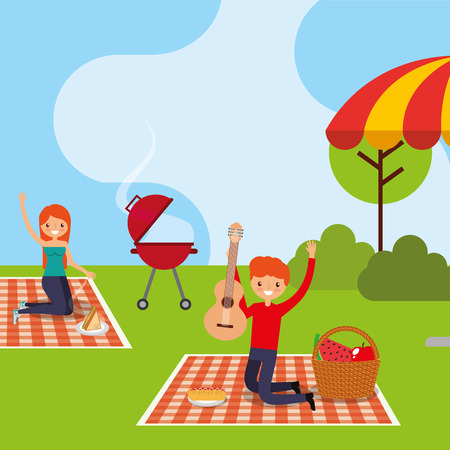 happy people in picnic park with guitar grill basket food vector illustration