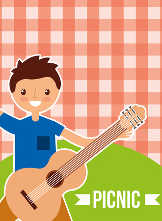 happy young man holding guitar with picnic checkered tablecloth vector illustration Stockfoto - 98790726