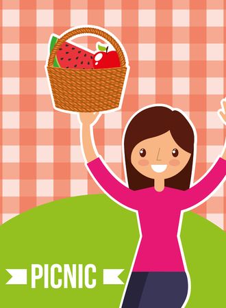 cute woman holding basket fruits with picnic checkered tablecloth vector illustration Stock Illustratie