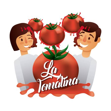 la tomatina boy girl smash red tomato happy faces vector illustration  イラスト・ベクター素材