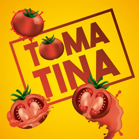 la tomatina yellow background three tomatoes smash festival vector illustration
