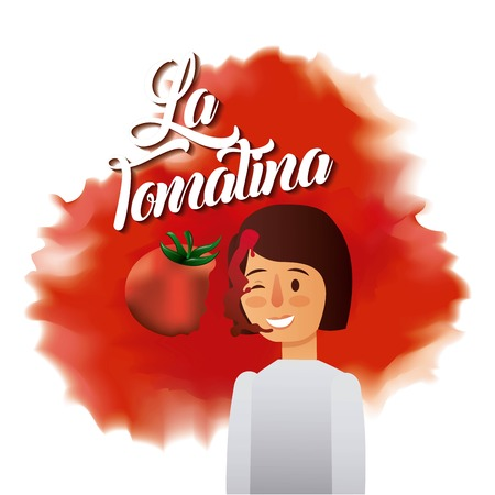 la tomatina girl face smash red tomato fest vector illustration Illustration