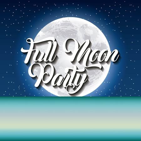 full moon party summer stars blue night moonlight shine vector illustration
