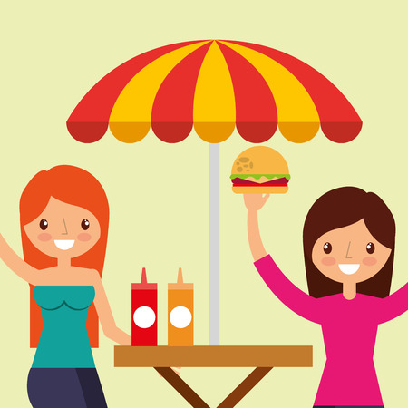 happy young woman sitting in wooden table picnic umbrella vector illustration