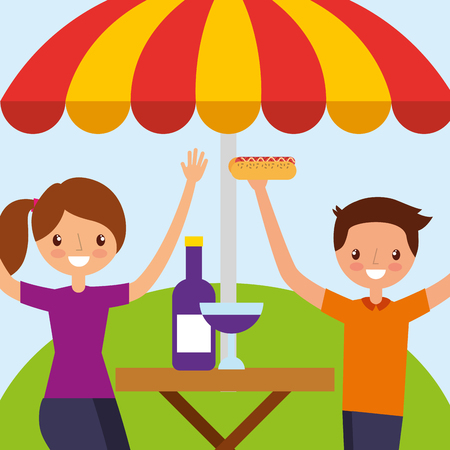 happy couple in wooden table picnic umbrella vector illustration