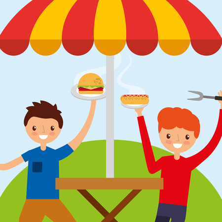 young men happy in wooden table picnic with burger and hot dog vector illustration