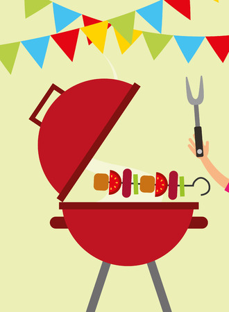 picnic grill with kebab and hand holding fork vector illustration