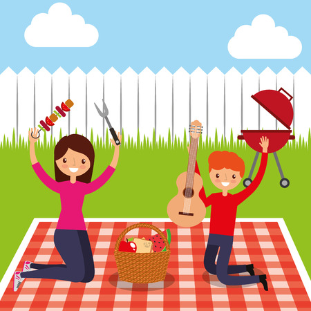 happy couple holding guitar and kebab in picnic in the backyard vector illustration