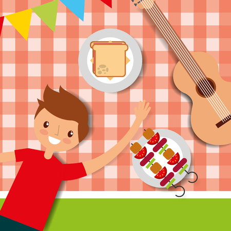 happy young man lying on tablecloth with guitar sandwich and kebabs vector illustration