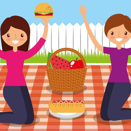 glückliche Freundinnen, die Picknick auf der Hinterhofvektorillustration haben