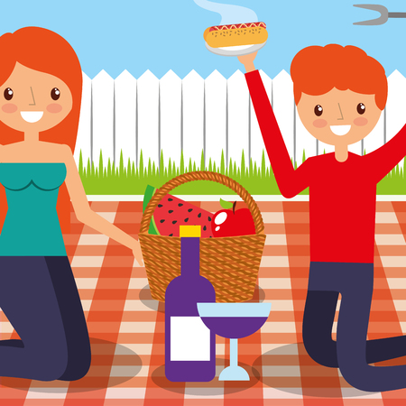 happy couple in picnic tablecloth with basket food wine in the backyard vector illustration