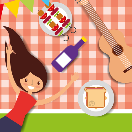 young woman lying in picnic tablecloth with guitar wine sandwich vector illustration