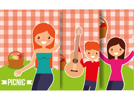 happy people picnic basket food fruits guitar with checkered background vector illustration Standard-Bild - 98788365