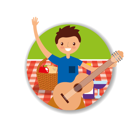 happy young man playing guitar in picnic tablecloth with basket vector illustration