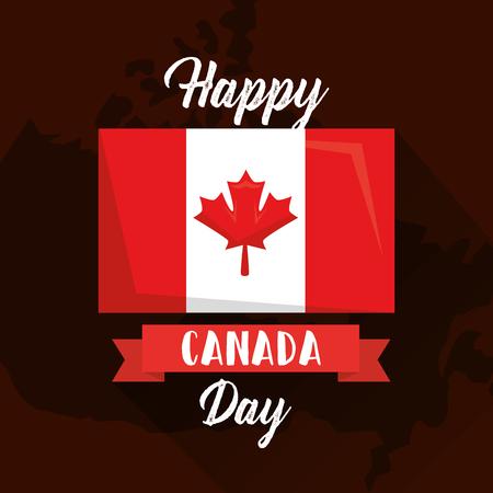 Joyeux drapeau de la fête du canada sur la carte illustration vectorielle géographique Banque d'images - 98788368