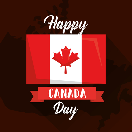 happy canada day flag on map geographic vector illustration Illustration