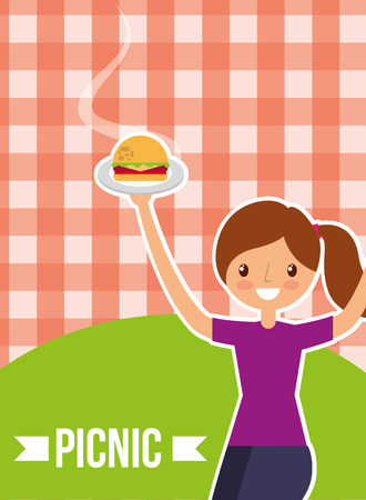 young woman holding burger with picnic checkered tablecloth vector illustration