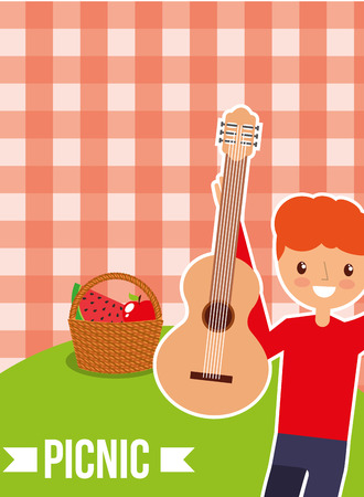 happy man with guitar and basket with picnic checkered tablecloth vector illustration Stock Illustratie
