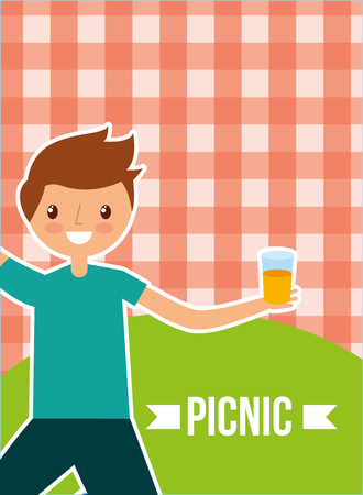young happy man holding juice with picnic checkered tablecloth vector illustration