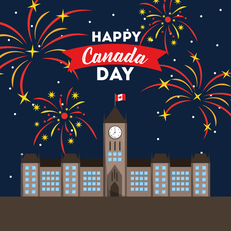 happy canada day ottawa city fireworks for celebration vector illustration