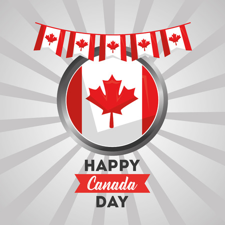 happy canada day - canadian flag and pennants on sunburst background vector illustration